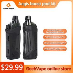 GeekVape Aegis Boost Kit Pod System with 3.7ml Cartridge 1500mAh built-in battery 40W Output E Cigarette Vape Kit VS Aegis mini