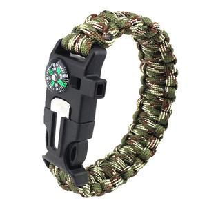 Outdoor camping survival whistle / flintstone / blade / compass / Weave Bracelet - Army Green