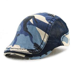 Europe and the United States camouflage cap net pure color cotton hat - Dark blue