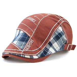 Plaid cloth stitching parallel arrow embroidery line cap - Red wine