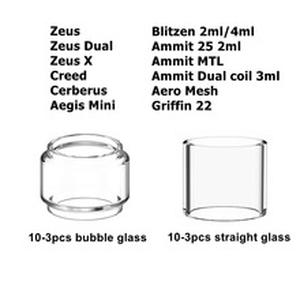 10/3pcs/Pack Replacement Pyrex Glass Tube Tank For Zeus/Dual/X/Cerberus/Aegis Mini/Ammit Dual 25/Aero Mesh/Creed RTA Atomizer