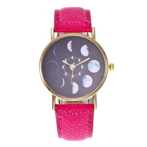 Moon Eclipse Leather quartz watch - Rose red