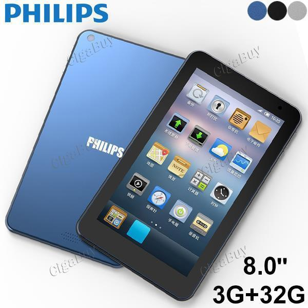 Philips M8 Tablet Quad Core 3+32GB 2MP + 5MP Cameras Dual Band 2.4G +5G WiFi