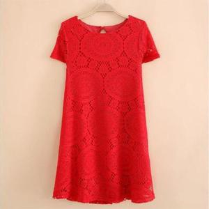 Summer Fashion Short Sleeve Lace Slim Dress (Size 3XL) - Red