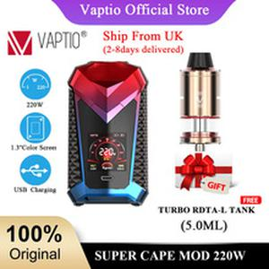 Ship from UK! Gift RDTA Atomizer VAPTIO SUPER CAPE 220W MOD with 1.3 screen Electronic cigarette mod TC Box 510 thread Vape Mod