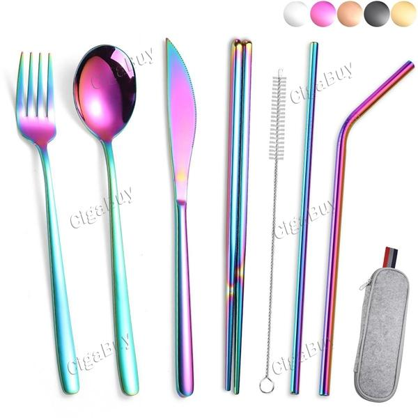 7pcs Dinnerware Set Travel Camping Cutlery Set Reusable with Straw Spoon Fork