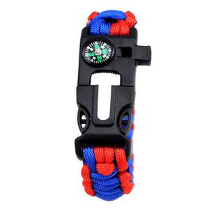 Outdoor camping survival whistle / flintstone / blade / compass / Weave Bracelet - Red Blue