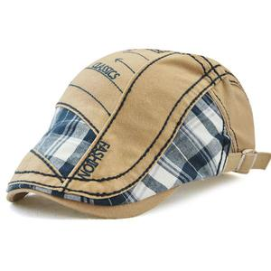 Plaid cloth stitching parallel arrow embroidery line cap - Medium beige