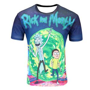 Europe and America rick and morty cartoon printed thin T-shirt short sleeve (Size 4XL) - Multicolor