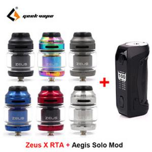 Zeus X RTA 4.5ml capacity Vape tank with Aegis Solo box Mod 100W Vape mod by 18650 battery waterproof E Cigarette