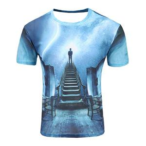 Foreign Trade Men's Casual Digital Printing Short-Sleeved T-shirt Printing 3D Cartoon Starry Sky (Size XL) - Blue