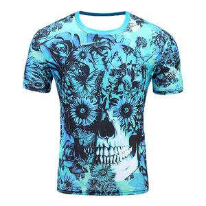 Devin Du 3D Digital Printing Skeleton T-shirt (Size 2XL) - Blue