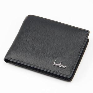 Men's short Genuine Leather zip wallet - Black