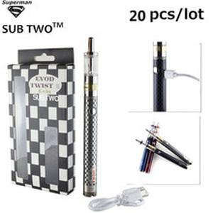 20pcs/lot SUB TWO evod twist III kit M16 atomizer 2.0ml electronic cigarette vape pen with variable voltage for free shipping