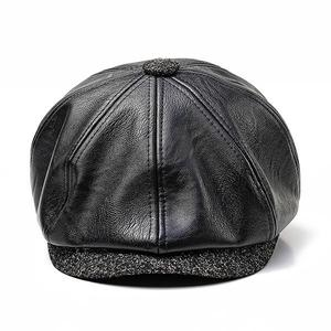 European and American octagonal cap middle-aged old PU leather beret (58cm) - Black