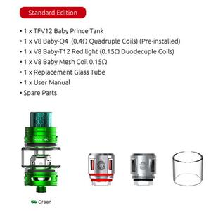 TFV12 Baby Prince Tank 4.5ml Capacity V8 BABY Q4 Mesh T12 Coils Electronic Cigarette Atomizer