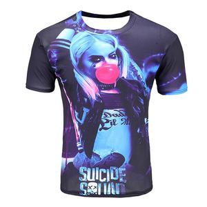 European and American suicide team protagonist 3D printed short-sleeved T-shirt (Size XL) - Multicolor