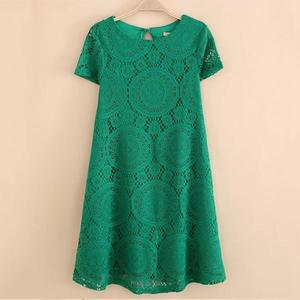 Summer Fashion Short Sleeve Lace Slim Dress (Size 4XL) - Green