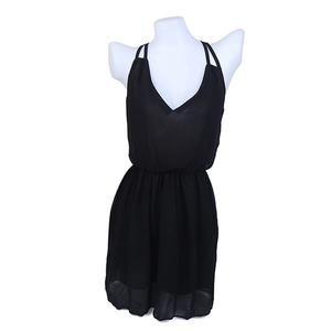 Chiffon Sleeveless Slim Fit Dress (Size XXL) - Black