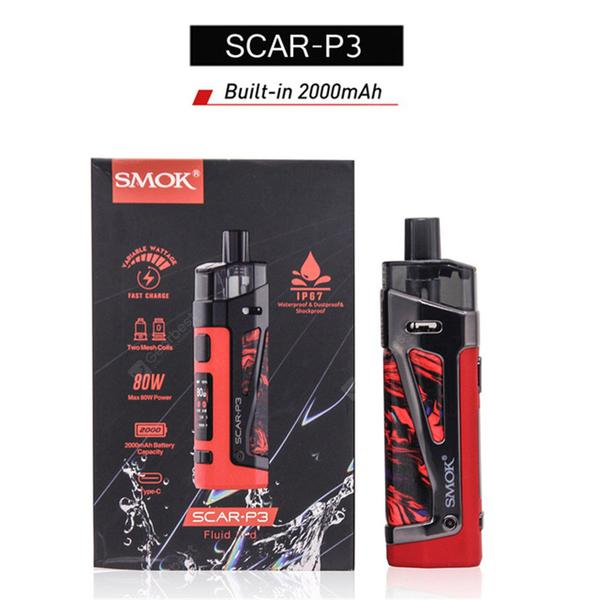 SCAR P3 P5 KIT 80W Waterproof Vape Electronic Cigarette for RPM RBA RPM2 Coils Cartridge Vaporizer