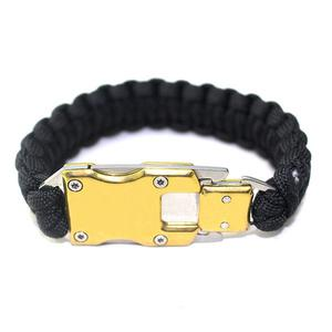 Stainless steel survival knife safety umbrella rope braided lifesaving bracelet - Gold