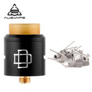 Druga Rda Atomizer Tank with 10pcs Clapton Dual Core Fused Coils 24K Gold Plated Deck Electronic Cigarette Vape Tank