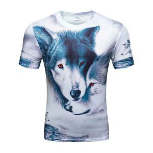 3D double wolf head digital printing men's T-shirt personality short sleeve (Size XL) - White