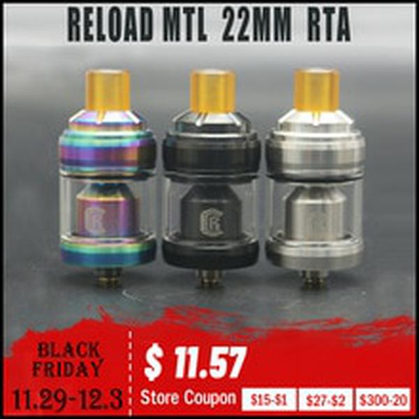 RELOAD MTL 22MM RTA Vape Tank With 510 Thread Drip Tip 3ml Capacity Electronic Cigarette Atomizer