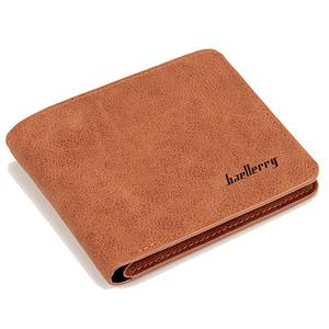 Baellerry Men's matte soft leather casual short wallet - Coffee