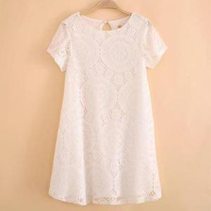 Summer Fashion Short Sleeve Lace Slim Dress (Size XL) - White