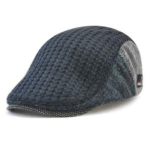 Men's British style caps warm middle-aged knitted wool hat - Dark blue