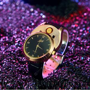 Watch Cigarette Lighter watches USB Charging Quartz Wristwatches Flameless Replaceable heating wire